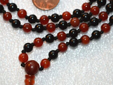 Red & Black Onyx w/ Carnelian Hand Knotted Mala Beads Necklace - Blessed Nirvana