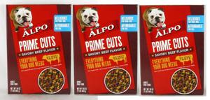 (3) NEW Purina Alpo Prime Cuts Savory Beef Flavor Adult Dog Food 16 Oz