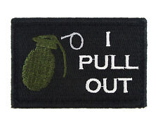 I Pull Out Grenade Black and White Tactical Hook & Loop Embroidered Morale Tags