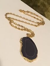 Gorgeous Gold Trimmed Blue Druze Pendant On Trifari Gold Tone Chain Necklace #R9