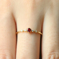 Dainty Women's Red Diamond Ring Wedding Engagement Party Thin Delicate Ring F