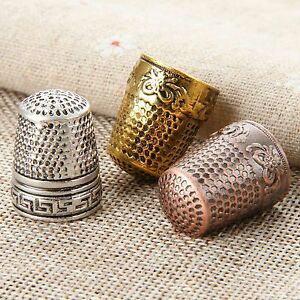 Sewing Grip Shield Sewer DIY Craft Tools Metal Thimbles Finger-Fit Protector Kit