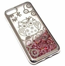 For iPhone 7 / 8 SILVER OWL Pink Glitter Stars Liquid Water Sparkle Case Cover
