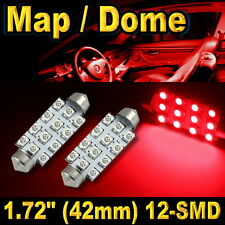 """2x 1.72"""" 42mm 12-SMD Festoon Super Red LED For Map Dome Lights Bulbs 211-2 578"""