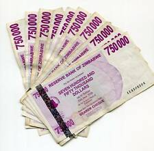 ZIMBABWE 2008 750 000 BEARER CHEQUES G x 10 Pcs INFLATION CURRENCY