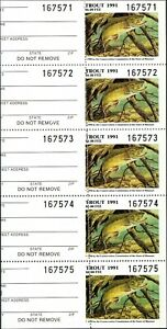 MISSOURI 1991 TROUT STAMP PANE OF 5 MISPERFED. Uncommon. Nice variety to own.