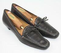 Unisa Ladies Womens Black Leather Contrast Stitch Flats Shoes Size 8B
