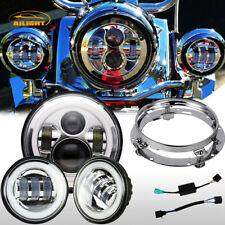 "7"" LED Headlight + Passing Lights for Harley Fatboy Heritage Softail Deluxe FLST"