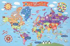 Kid's Laminated World Map Laminated Poster Print, 36x24
