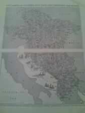 1924 Map of 5 European Countries Industries & Plants 2 Small Pages to Frame