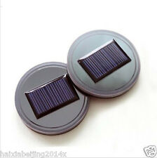 2x Car Solar Energy Cup Holder Bottom Pad Blue LED Light Cover Trim USB Charging