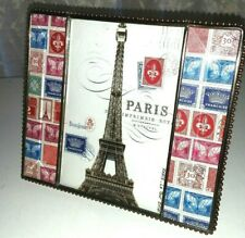 French Home Decor Beveled Glass Frame Eiffel Tower France Stamps Gift or Staging