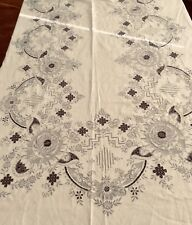 Vintage EMBROIDERY AND NEEDLE LACE Tablecloth And 12 NAPKINS Handmade
