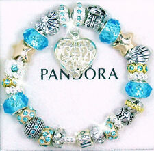 Pandora Silver Snap Clasp Bracelet Gold Blue Heart Angel and European Charms New