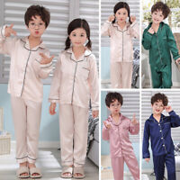 Girls Kids Satin Pyjama Set Summer Lounge Wear Pajamas Long Sleeve Nightwear