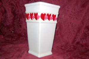 Valentines Floral Vase Hearts Love Red Pink Sweetheart Flowers Ceramic