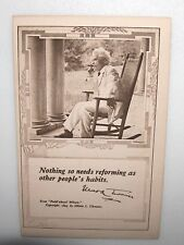 """ANTIQUE MARK TWAIN SMOKING CIGAR """"QUOTE"""" POSTCARD BY HIS WIFE OLIVIA L. CLEMENS"""