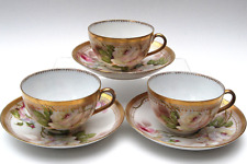 GORGEOUS  6 PC HAND PAINTED ROYAL O & EG AUSTRIA TEA CUPS & SAUCERS w SINGED
