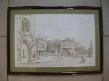 Eau forte signée numérotée 1/250 th Adam Neuilly Plaisance Place de l'Eglise