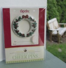 "Spode Christmas Wreath Cheer Pin 1 - 1/8"" Royal China & Porcelain Co England New"