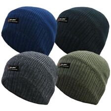reputable site ef73c af808 ROCKJOCK MENS PLAIN THINSULATE BEANIE HAT THERMAL FINE RIB WINTER FLEECE  LINED