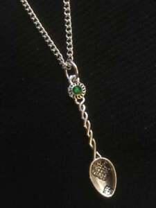 Celtic Love Spoon Silver Necklace Gaelic Welsh Tea  Favour Pendant Spoonie GREEN