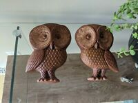 Pair of Vintage 60s/70s Chalkware Owls Wall  Hanging Retro Decor MCM Brown Heavy