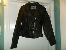 UNIK Black Leather Motorcycle Biker Jacket Ladies Medium VG !
