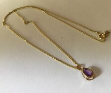 """Vtg 9ct 9k Gold Pear Amethyst Solitaire Pendant 18"""" 9ct Gold Curb Chain Necklace"""