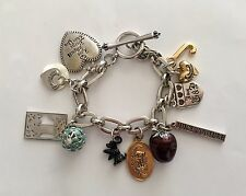 Beautiful Juicy Couture 10 Mostly Retired Charm Silver Tone Bracelet With Box