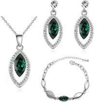 Emerald Crystal Green Jewellery Drop Earrings Necklace Set Bracelet evil Eye
