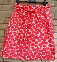 AMORETTI RED WHITE COTTON LINEN A LINE BELTED SPOTTED POLKA DOT MIDI SKIRT M L
