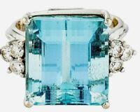 Huge Vintage 18k White Gold 18.25ct Aquamarine .6ct Diamond Ring 11.8g 13K Ret