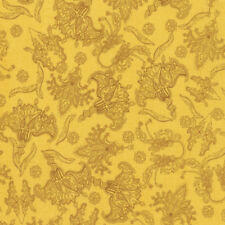 Studio KM PWKM025 Persia Botanical Gold Cotton Fabric By The Yard