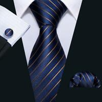Mens Silk Necktie Classic Navy Blue Striped Formal Tie Set Jacquard Woven Ties
