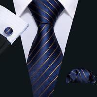 Mens Silk Necktie Classic Navy Blue Striped Formal Tie Set Jacquard Woven Ties