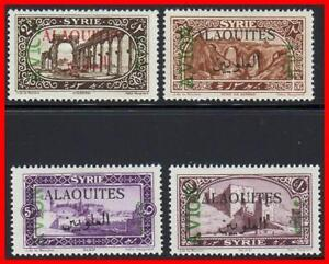ALAOUITES / FRENCH SYRIA 1925 AIRMAILS SC#C5-C8 MLH/MH HR CV$30.00 ARCHITECTURE