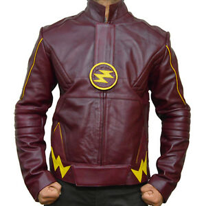 The Flash Grant Gustin Barry Allen Maroon Flash Leather Jacket