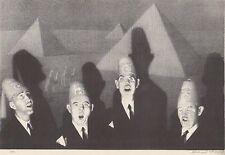 """GRANT WOOD 1939 WPA Print """"SHRINER'S QUARTET"""" Vintage Portraits Artwork Sketch"""