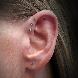Gold Set of 3 Sizes Clear Set Labret Studs Triple Forward Helix Earrings