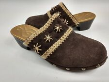Nine West Shoes Youth Girls Suede Slip On Clogs Brown Knit stitch sequin stud 3M