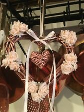 Easter Door Wreath Hanging Decoration Wicker Heart Copper Rose Gold Rose Flowers