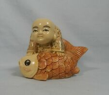 Vintage Rare Japanese hand carved netsuke boy koi fish circa 1950s resin large