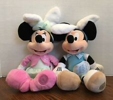 "Authentic US Disney Store Easter Mickey and Minnie Plush Set of Two 19"" NWT!"