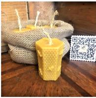 2x Handmade Natural Organic Beeswax Taper Dinner Table Church Candles 18.5x1.8cm