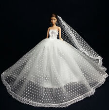 White Fashion Royalty Princess Dress/Clothes/Gown+Veil For Barbie Doll S179A
