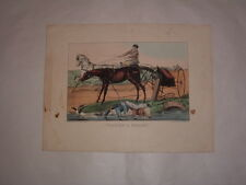 Original Currier & Ives Lithograph Taking a Smash Horse & Carriage Full Sheet