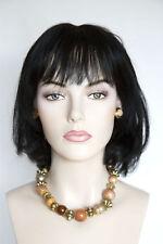 Black Brunette Short Human Hair  Straight Skin Top Wigs