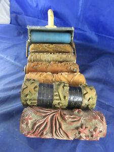 LOT Malerwalze antik 6x Strukturwalze Rolle Malerrolle Musterrolle Walze Deko 1