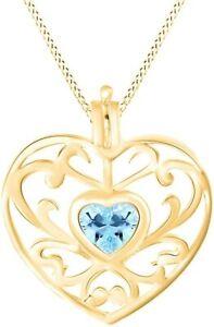 Simulated Aquamarine Filigree Heart Pendant Necklace 14K Gold Over Silver